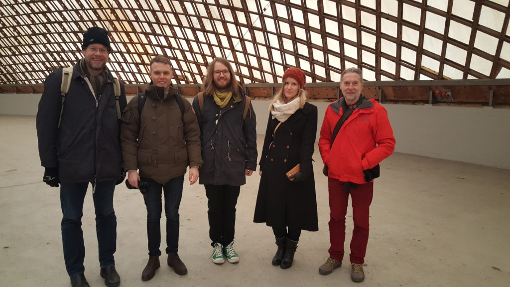 Mats Ander, Alexander Sehlström, Emil Adiels, Erica Henrysson and Chris Williams during a cold site visit to the Mannheim Multihalle.